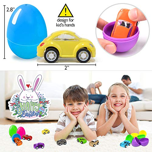 Joinart 16PCS Easter Eggs + 16PCS Pull Back Cars Toy Plastic Easter Egg Fillers Easter Basket Stuffers Mini Car Toys Surprise Eggs Easter Gifts Easter Party Favors for Kids Toddlers Goodie Bag Filler by Joinart (Image #6)