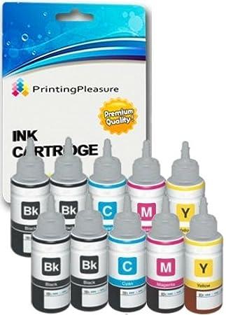 10 Cartuchos de Tinta compatibles para Epson EcoTank ET-2500 ET-2550 ET-2600 ET-4500 ET-4550 ET-14000 L100 L110 L120 L200 L210 L300 L310 L350 L355 ...