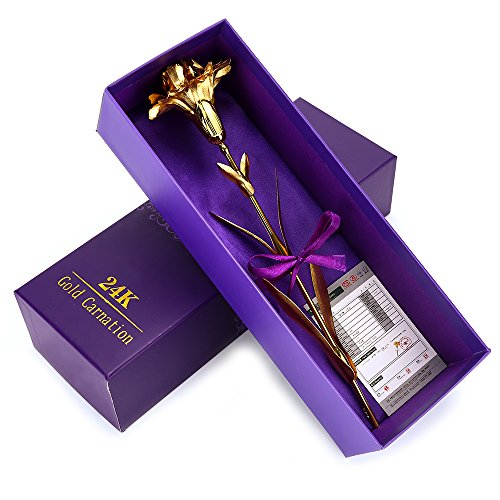 ranipobo Sweetly Carnations Flower 24K Gold Plated Decoration Golden Flowers with Love and Thank You for Mothers Day, Birthday, Wedding Ceremony with Luxury Gifts Box
