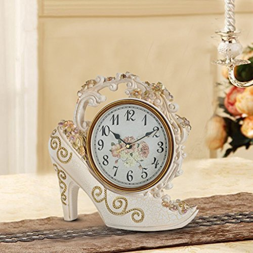 European style retro high heels creative clock fashion ladies watches living room entrance antique clock (Color : Rice gold) ()