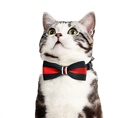 (DENTRUN Cat Handmade Bow Tie Small Dog Charm Collar Adjustable, Pet Soft Durable Handcrafted Adorable Ties, Neckties Kitty Puppy Formal)