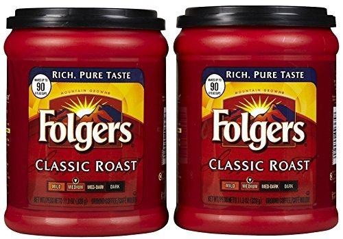 Fresh Taste of Folgers Coffee, Classic Roast Ground Coffee, Medium Flavor, 11.3 Oz Canister - (2 pk) ()