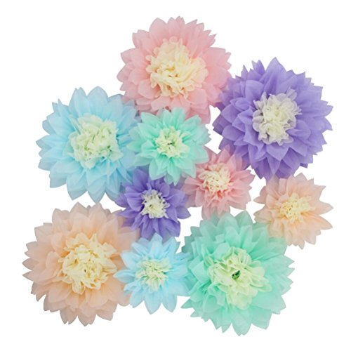 Mybbshower Pastel Tissue Flower Pom Centerpiece Birthday Party Decoration Pack of 10 - Unicorn Mint