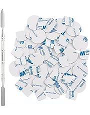 Allwon 56 stks metalen stickers voor magnetische palet lege oogschaduw make-up palet + depot spatel (28 stks ronde + 28 stks vierkante)