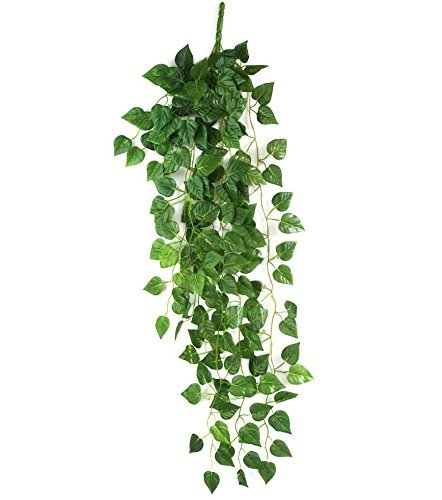 UZZO™Home Garden Wall Decoration 35.5Inch Aritifical Fake Hanging Silk Green Grape Vine Garland Plant Leaves Greenery Chain Ivy,Perfect for Wedding Decor, Party Decor, Pillars, Hanging Roof Decor, etc (1pcs) Grape Pillar