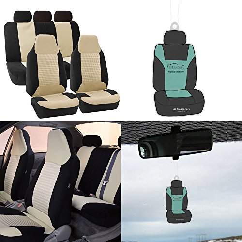FH Group FB107115 Trendy Corduroy Fabric Full Set Seat Covers, Airbag Compatible & Split Ready w. Free Air Freshener, Beige/Black Color- Fit Most Car, Truck, SUV, or - 2002 Holder Cup Subaru Forester