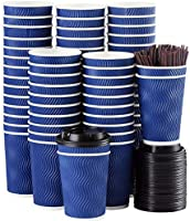 Disposable Coffee Cups with Lids and Straws - 4 oz (90 Set) Togo Hot Paper Coffee Cup with Lid To Go for Beverages...