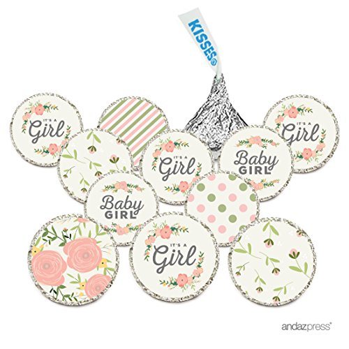 Andaz Press Chocolate Drop Labels Trio, Fits Hershey's Kisses, Ultimate Girl Baby Shower Collection, Floral Roses, 216-Pack Floral Collection Rose