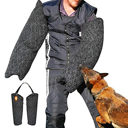 PET ARTIST Professional Dog Bite Sleeves Suit for Schutzhund Police Dogs Training Biting, French Linen - Left and Right Sleeve Set