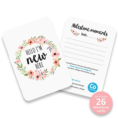 Baby Milestone Cards, Set of 26 - Newborn First Year Progress Report Cards with Cute Sayings and Floral Wreath Prints - Unique Baby Shower Gift for New Moms, Parents - for Girls by CoCreative Design (Image #3)