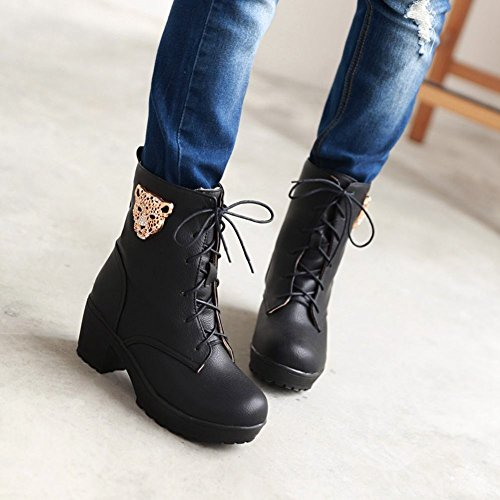 Heel Spring up Mid Rhinestone Decorations Womens Shaped amp; Black Carolbar Fall Warm Fashion Boots Martin Leopard Lace FEOwnqI