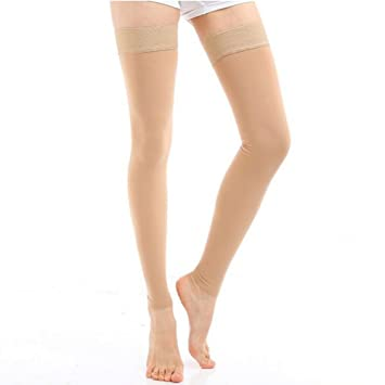 c603fcb2e4 Women's Medical Compression Stockings 20-30mmHg Thigh High Footless  Overnight Compression Socks for Varicose Veins