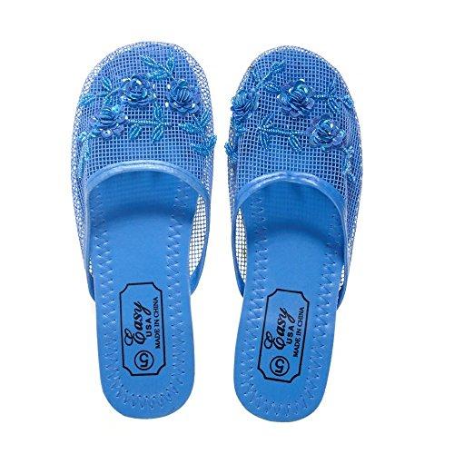 Pantoufles En Maille Femme Usa Facile Avec Sequin Bleu