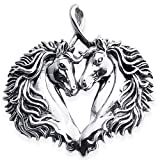Horses In Love - Sterling Silver Double Horse Head Forming Heart Pendant