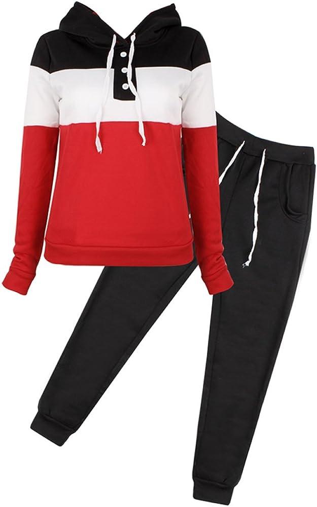 Womens Jogger Tracksuit Sweatshirt Sweatpants Casual Sweat Suit Sport Wear 2Pcs