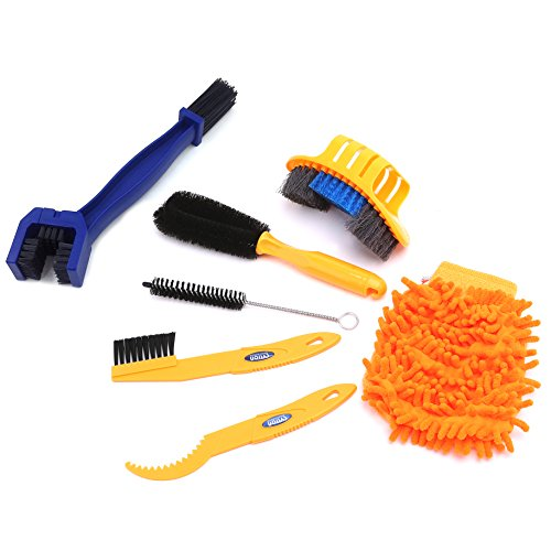 7 Pieces Precision Bike Bicycle Cleaning Brush Tool Kit Set &Chain Cleaning Brush Compact Multipurpose Practical for Mountain, Road, City, Hybrid ,BMX Bike and Folding Bike (6 Pieces & Chain Brush)