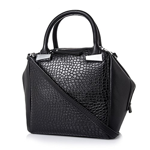 Women Handbag,Women Bag, KINGH Vintage PU Leather Bag Fashion Lozenge Design Handbag 254 Black