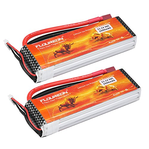 Floureon 2 Packs 3S 11.1V 3000mAh 30C Lipo Battery with Dean-Style T Connector for RC Airplane Helicopter Boat Drone and...