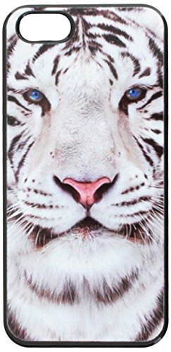 Graphics and More White Bengal Tiger with Blue Eyes Snap-On Hard Protective Case for iPhone 5/5s - Non-Retail Packaging - Black