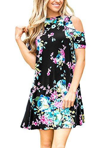 Sidefeel Women Cold Shoulder Short Sleeve Floral Print Mini Dress X-Large Black
