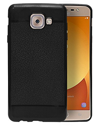ECellStreet® Soft Back Cover Case with Camera Protection for 2017 Samsung Galaxy J7 Max  Black