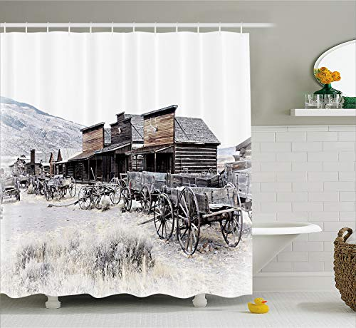Ambesonne Western Shower Curtain, Old Wooden Wagons from 20's in Ghost Town Antique Wyoming Wheels Artwork Print, Cloth Fabric Bathroom Decor Set with Hooks, 84