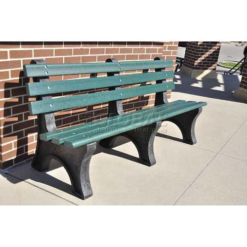 6' Central Park Bench, Recycled Plastic, Green