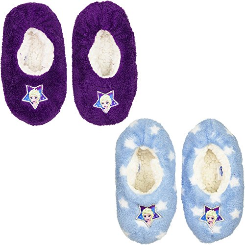 DISNEY FROZEN Die Eiskönigin ELSA Pantoffeln Hausschuhe lila hellblau Sohle rutschhemmend 25-32 (27/28, hellblau)