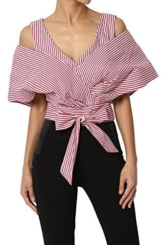 Cotton Stripe Wrap Top (TheMogan Junior's Stripe Off Shoulder Wrap Sash Cape Crop Top Blouse Red M)