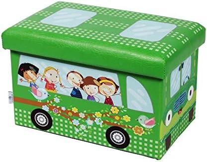 B FSOBEIIALEO Folding Storage Ottoman for Kids, Faux Leather Ottomans Cube Foot Stool Padded Seat 16.5 x10.2 x10.2 School Bus