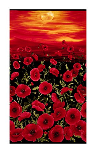 Timeless Treasures 0546668 Tuscan Sunset Poppies 24in Panel Black