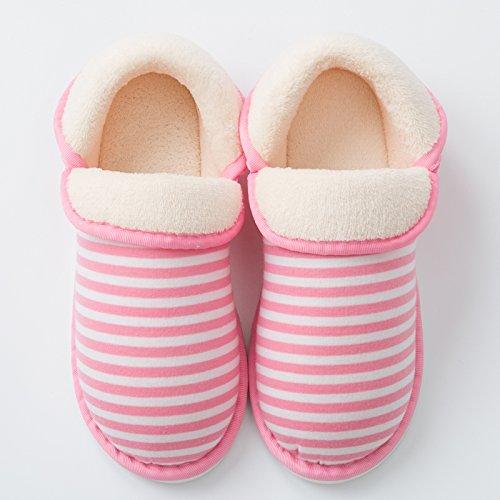 Fankou inverno caldo giovane uomini e donne cartoon sacchetto con fondo più spessa della bella anti-slittamento home indoor cotone pantofole, 37/38 (piccolo di 1 metri), rosa bianco
