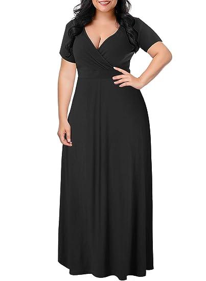 181fef3db5d Womens Maternity Short Sleeve V Neck Casual Maxi Long Maternity Dress-Black