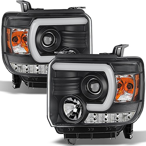 For GMC Sierra 1500/2500/3500 Pickup Black Bezel DRL LED Light Tube Projector Headlights Replacement (Gmc Headlight Bezel)