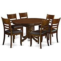 East West Furniture KELY7-ESP-LC 7 Piece Set Kenley With One 18 Leaf And Six Padded Leather Kitchen Chairs In Espresso Finish