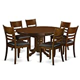 East West Furniture KELY7-ESP-LC 7 Piece Set Kenley with One 18″ Leaf and Six Padded Leather Kitchen Chairs in Espresso Finish For Sale