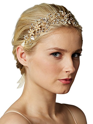 Mariell Freshwater Pearl and Crystal 14K Gold Plated Bridal Headband Flexible Hair Vine for Weddings