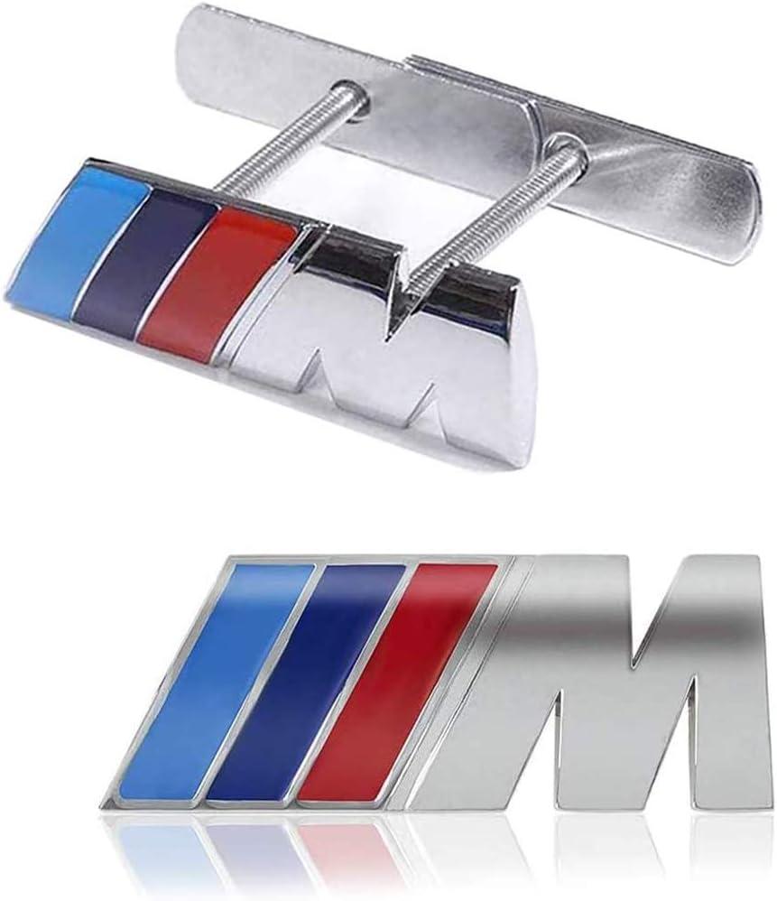 Dapang M Frontgrill Emblem Seitenabzeichen Aufkleber 3D Chrom Abzeichen Metall Power Car Fashion Logo F/ür BMW M M3 M5 X1 X3 X5 X6 E30 E34 E36 E39 E46 E60 E90 E92,Silber