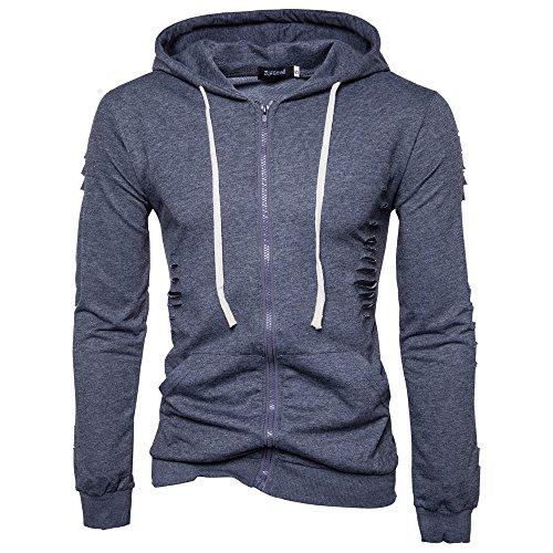 SparrK Mens Fashion Holes Full-zip Hooded Sweatshirt Hoodie Darkgrey S