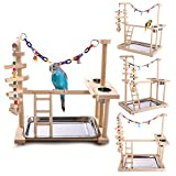 QBLEEV Parrot Wood Stand Perch Bird Playstand Playground Playgym Playpen Ladder with Toys Exercise Play (Include a Tray)(19
