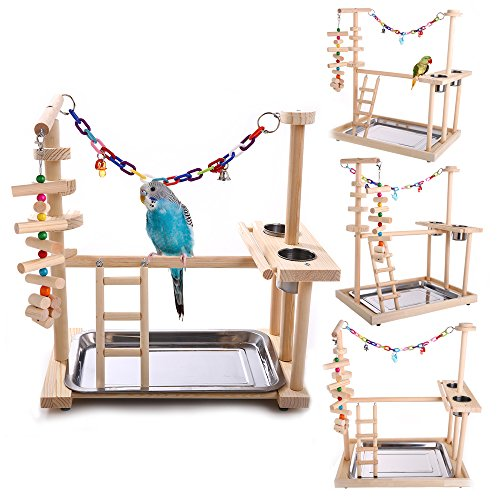 Gazebo Rabbit Hutch (QBLEEV Parrot Wood Stand Perch Bird Playstand Playground Playgym Playpen Ladder with Toys Exercise Play (Include a Tray)(19