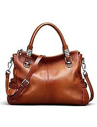 S-ZONE Women's Vintage Genuine Leather Tote Shoulder Bag Top-handle Crossbody Handbags Ladies' Purse