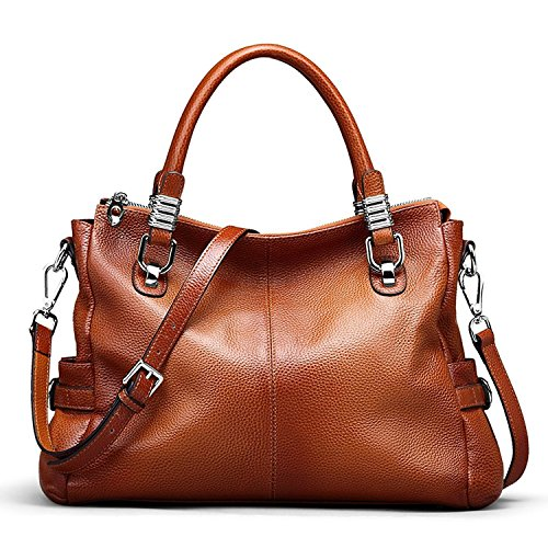 S-ZONE Women's Vintage Genuine Leather Tote Shoulder Bag Top-Handle Crossbody Handbags Ladies Purse (Brown) (Leather Purses And Handbags)