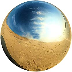 Whole House Worlds The Crosby Street Stainless Steel Gazing Ball for Homes and Gardens, 5 1/4 Inches Diameter, Silver Mirror Globe, By