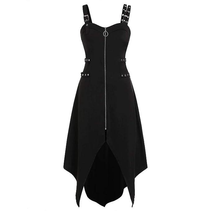 TWGONE Goth Dress for Women Plus Size Cool Solid Zipper Irregular Hem  Sleeveless Camisole Mini Dresses