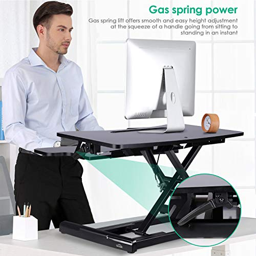 SIMBR Standing Desk with Height Adjustable Stand Up Desk Converter Sit to Stand Desk Riser Computer Workstation