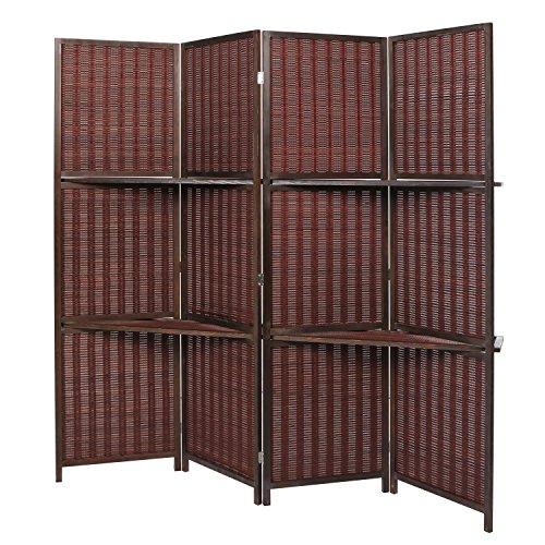 Deluxe woven brown bamboo 4 panel folding room divider for Room divider storage
