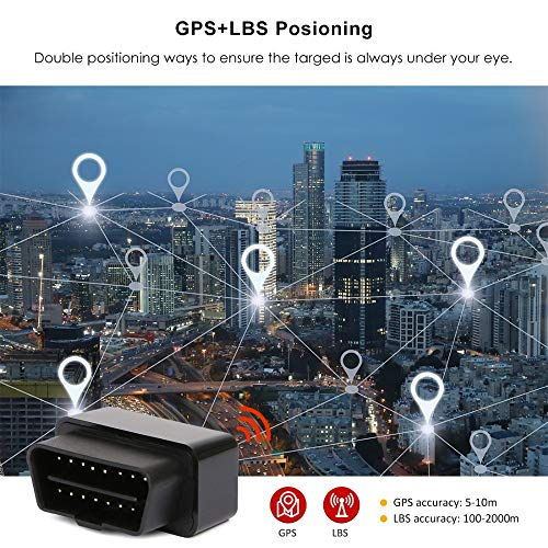 GPS Tracker OBD for Vehicle Real Time Live Tracking Device with SimCard, Free 1 Month Data Plan, Car Truck Tracking, Family or Fleet, Car Locator, Geo-Fence, Reports, Alarms