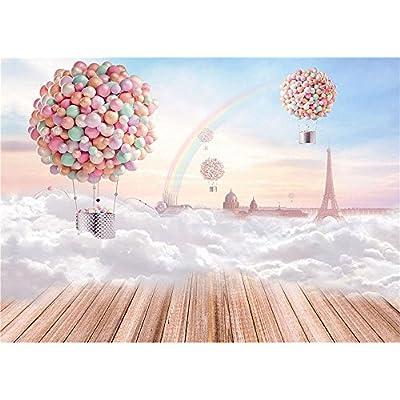 FUT 3D Hot Air Balloon Rainbow White Snow on the Floor Blue Sky Romantic Vinyl Wedding Backdrop Background for Wedding, Baby, Newborn, Personal Photo 7x5ft