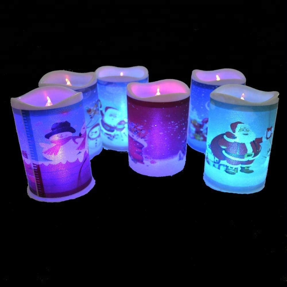 Set of 4 LED Light Up Color Changing Christmas Decorative Candles